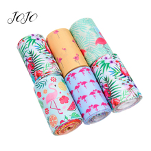 JOJO BOWS 75mm 2y Grosgrain Stain Ribbon Cartoon Flamingo Printed Tape For DIY Hair Bows Material Home Textile Sewing Webbing