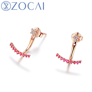 ZOCAI earrings 0 13 CT Certified Red Ruby with 0 02 CT certified Diamond Stud Earrings.jpg 350x350 - ZOCAI earrings 0.13 CT Certified Red Ruby with 0.02 CT certified Diamond Stud Earrings 18K Rose Gold (Au750) E00959_1