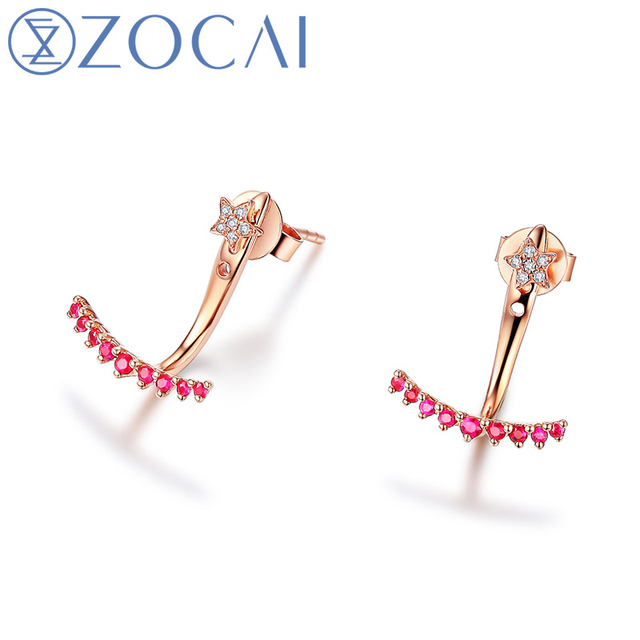 ZOCAI earrings 0 13 CT Certified Red Ruby with 0 02 CT certified Diamond Stud Earrings.jpg 640x640 - ZOCAI earrings 0.13 CT Certified Red Ruby with 0.02 CT certified Diamond Stud Earrings 18K Rose Gold (Au750) E00959_1