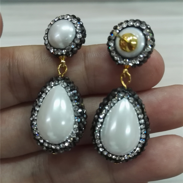 High quality natural white round and water drop pearl beads jewelry charms paved crystal rhinestone dangle earring for women