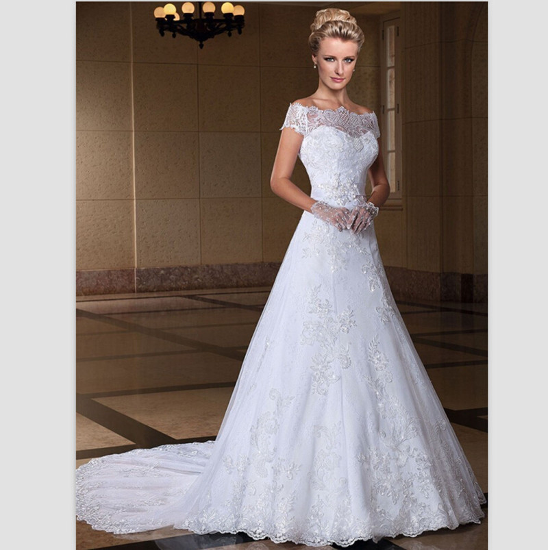 Buy romatic white lace wedding dresses for No lace wedding dress