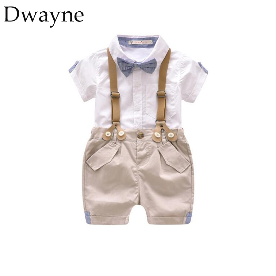 Summer Baby Boys Suit for Wedding Party Dress Boy Kids Clothes Set Toddler Boys Gentleman Baby Costumes Cotton Shirt + Bib Short стоимость