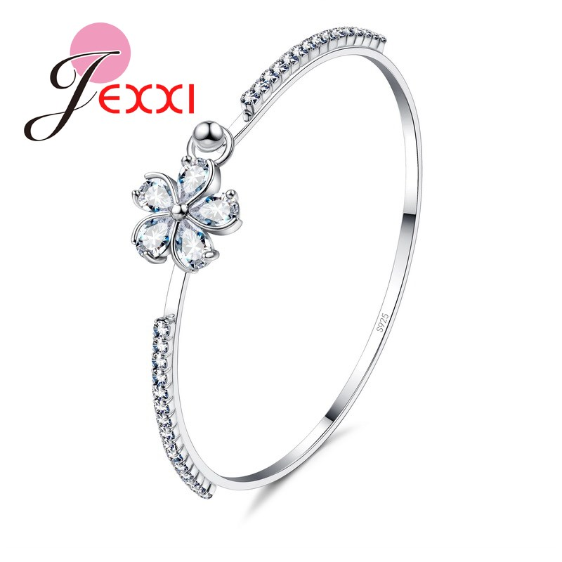 925 Sterling Silver Bangles Engagement Decoration Pretty Bridal Wedding Jewelry Women/Girls Cubiz Zircon Flower Bracelet
