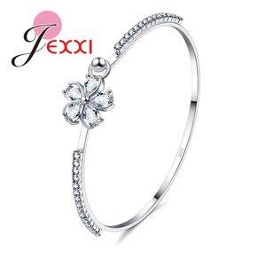 925 Sterling Silver Bangles Engagement Decoration Pretty Bridal Wedding Jewelry Women/Girls Cubiz Zircon Flower Bracelet(China)
