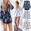 2016 moda nuevo estilo Sexy Women Summer Boho Loose Floral cuello en V profundo Playsuit mono de los mamelucos