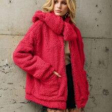 Fur collar Faux Fur Coat Women 2019 Winter Warm Soft Zipper Fur Jacket Female Plush Overcoat Pocket Casual Outwear