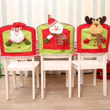 1Pcs Christmas Chair Covers 3D Snowman Santa Claus Reindeer Seat Cover Home Table Decoration Festival