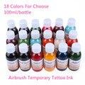 5 Garrafas/Pacote Preto Para Pintura Arte Corporal Airbrush Tatuagem Temporária Tinta Comum Fontes Da Beleza 100 ml/bottle Preço de atacado