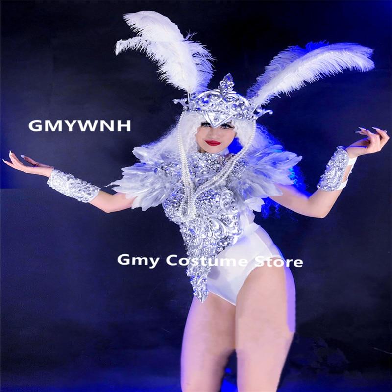DC43 серебро бальных танцев костюмы Соблазнительное женское платье dj этап носит одеть вечерние перо головной убор Бар робот Броня модели кос