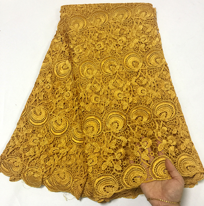 2018 Newest style Gold color African water soluble Lace Fabric High Quality Cord Lace Fabric Embroidery Fabric For party dress2018 Newest style Gold color African water soluble Lace Fabric High Quality Cord Lace Fabric Embroidery Fabric For party dress