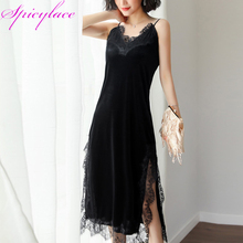 Dropship  Women Party Sexy Club Dresses Elegant Spaghetti Strop Lace Velvet Dress Strap Nightgown V-Neck SF1121