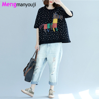 Summer Women Cotton T Shirt Horse Cartoon Dots O Neck Short Sleeve Loose Casual B8948 Black