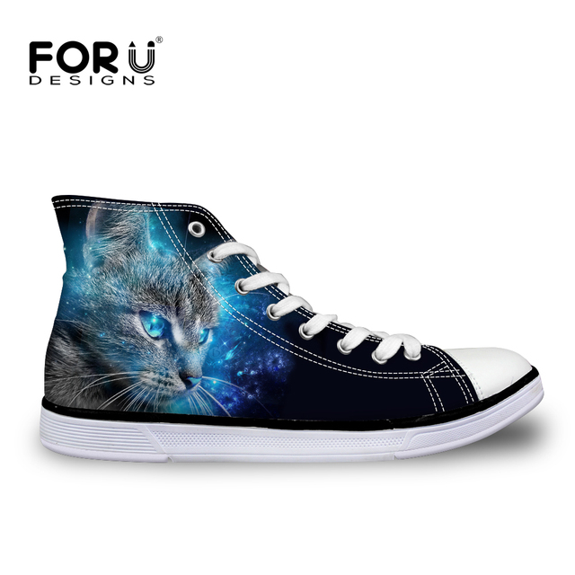 FORUDESIGNS 3D Animal Black Galaxy Cat Shoes Women High Top Canvas Shoe  Casual Teenager Girl Lace-up Vulcanize Shoes Female Flat 00fdaaf31d3e
