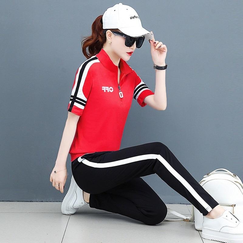 summer women sportswear tracksuit short sleeve T-shirt sweatshirt+pant running jogger exercise fitness workout casual sport suit 57