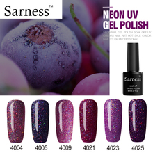 Sarness Gel Lucky Vernis Neon UV Nail Polish Soak Off Shimmer Colors Glaze Paint Glitter 8ml Long-lasting