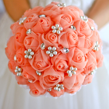 Bride holding font b flowers b font brooch bouquet bridesmaids bouquets roses hand made high end