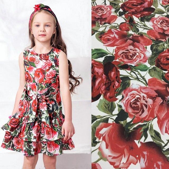 Fleurs imprimé tissu, lin coton tissu pour femmes enfants vêtements ...