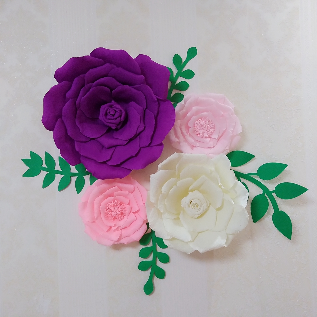 4 Piece Assorted Crepe Paper Flower Set Matched Leaves Gallery Wall