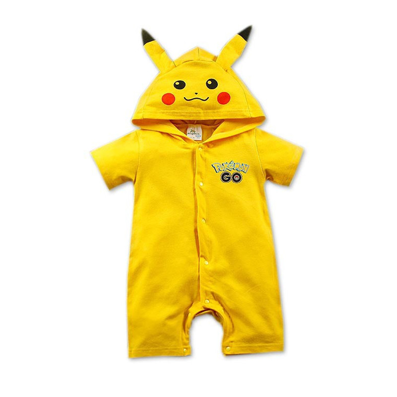 Pokemon Go Baby Rompers summer boy clothes Newborn Jumpsuits Short Sleeve Hooded Baby Clothing Animal Suit Bebes jumpsuit summer 2017 baby boys clothes cotton jumpsuit short sleeve roupas bebes menino for baby boy body overalls 0 24m baby rompers