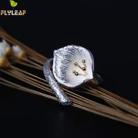 Flyleaf Brand Calla Flower Open Rings For Women High Quality Lady Retro 925 Sterling Silver Jewelry