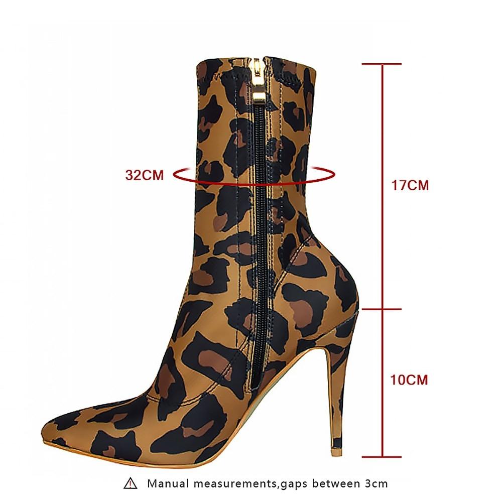 Stylets Cheville Tissu Pointu Femme Chaussures Imprimé Sianie Bout Stretch Bottes Hauts Minces Sexy Talons Chaussons Tianie Leopard Léopard De Mode TqxExOaB8