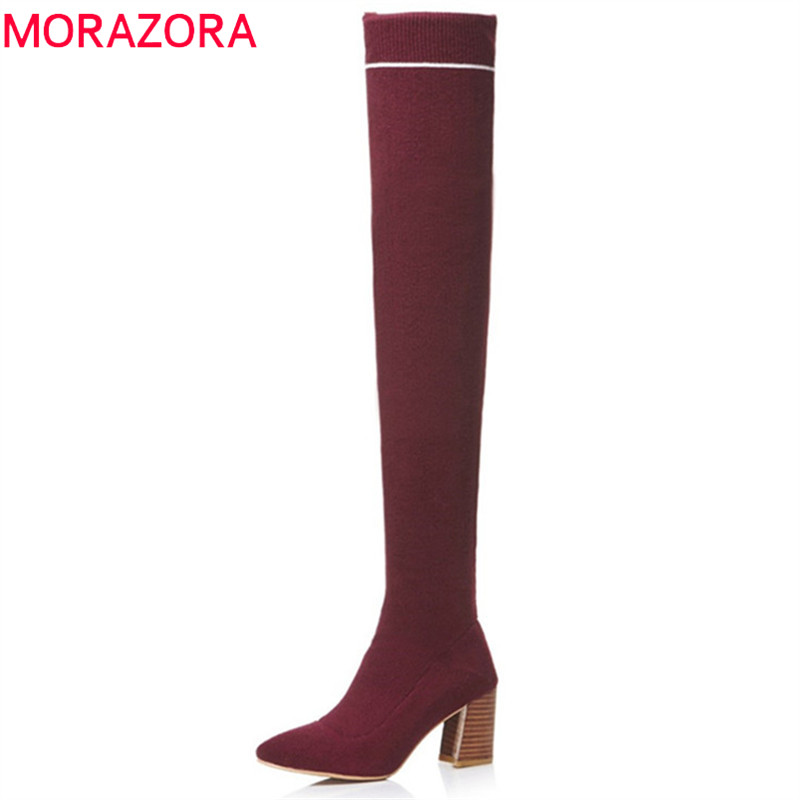 MORAZORA 2018 new fashion over the knee boots women pointed toe autumn shoes slip on simple Stretch socks boots sexy long boots стоимость