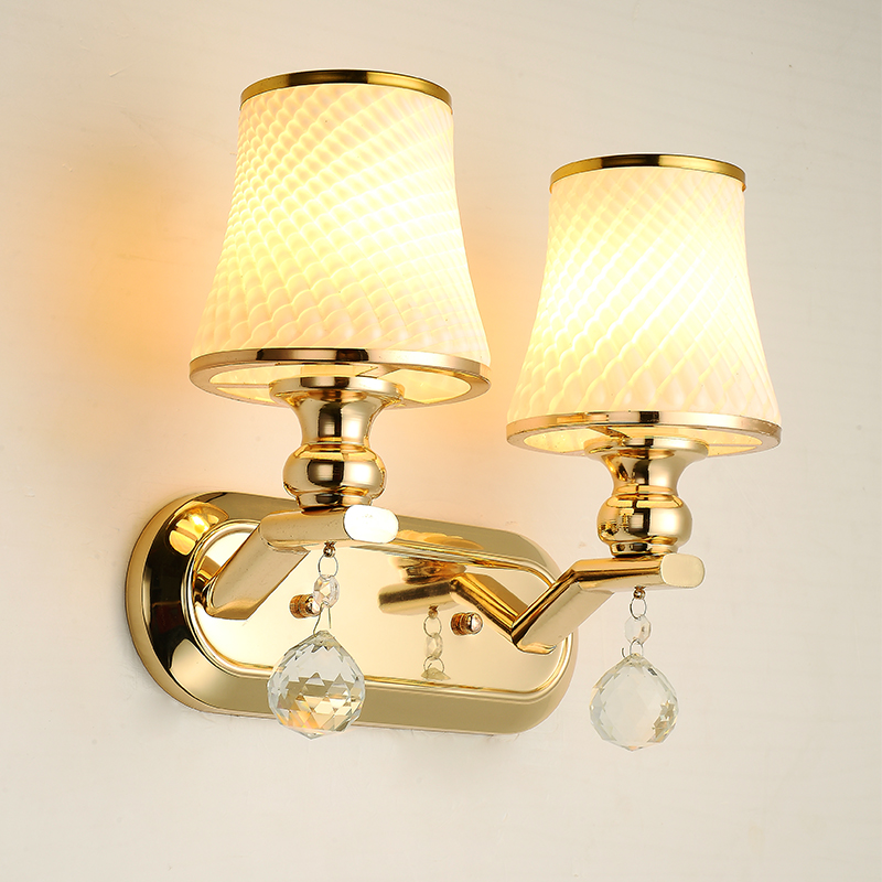 A1 Wall lamp bedside lamp wall lamp European style and modern simple double bedroom living room warm aisle hotel glass lamp foxer shoulder