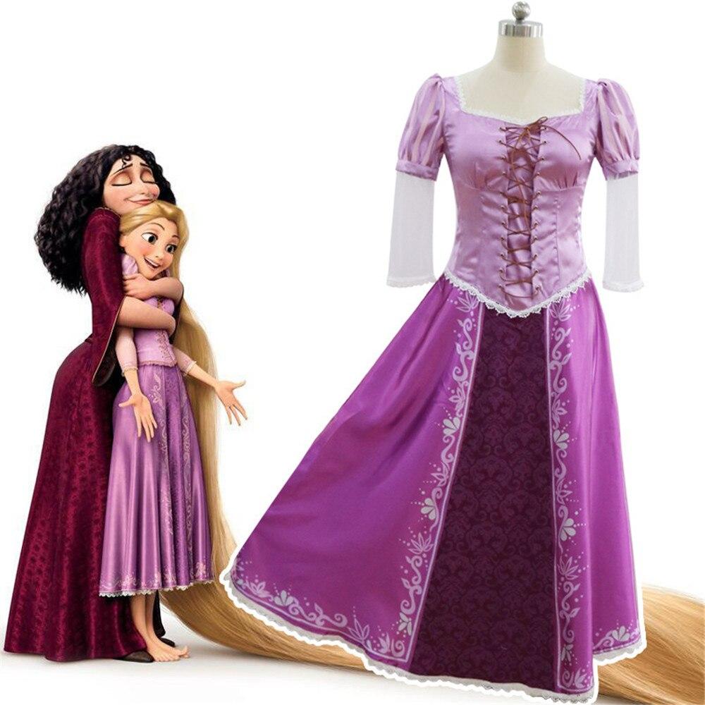 Кинокостюм Рапунцель для взрослых, косплей, нарядное платье, костюм для выпускного вечера, полный комплект, платье принцессы, парики для женщин
