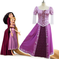 Film Costume Tangled Rapunzel Adult Cosplay Party Fancy Dress Costume Prom Gown Full Set Princess Dress wigs Women
