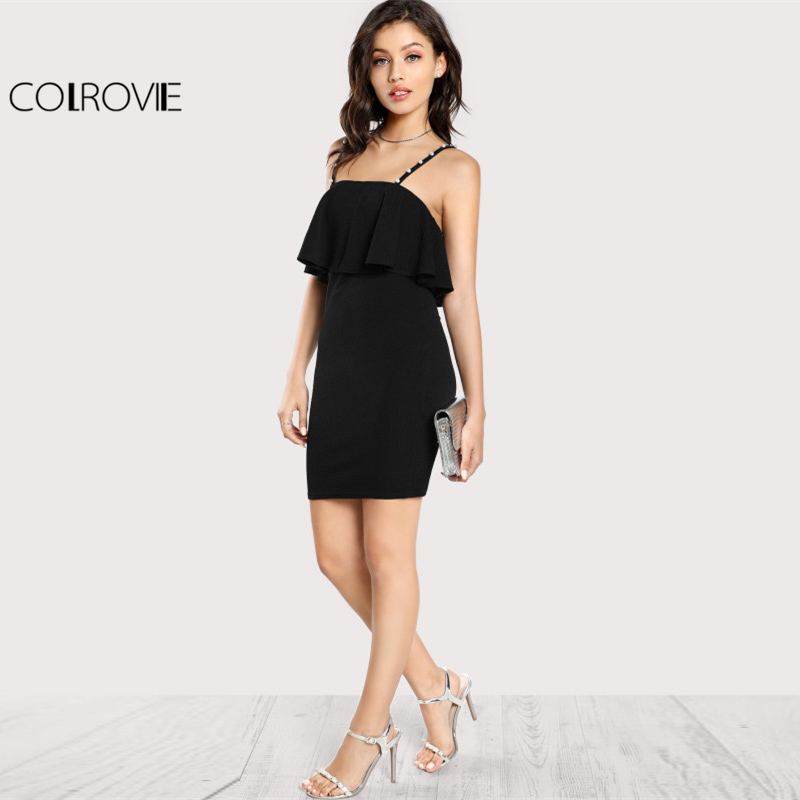 COLROVIE Pearl Beaded Strap Flounce Textured Party Dress Black Spaghetti Strap Sleeveless Ruffle Slip Plain Bodycon Dress