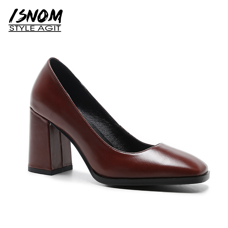 ISNOM Women Shoes High Genuine Leather Woman Pumps Square toe Elegant Lady Shoes Dress Footwear Female Thick Heels Pumps 2018 wetkiss new arrival genuine leather female footwear leisure retro square toe mules slingback pumps low square heels shoes woman