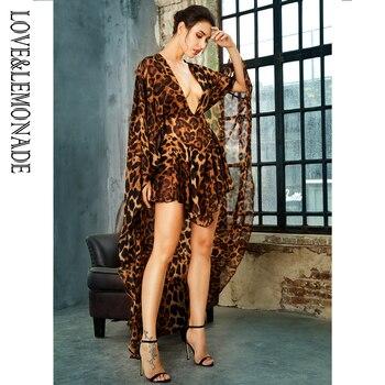 LOVE&LEMONADE  Deep V-Neck Open Back Cloak Style Leopard Chiffon Playsuit LM81381 4