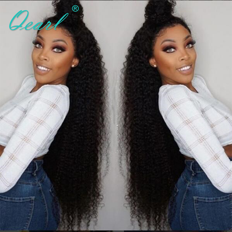Qearl Curly Lace Front Wigs Human Hair Lace Wig Kinky Curly Wigs Brazilian Remy Hair Glueless Wig With Baby Hair 24 26 28inch