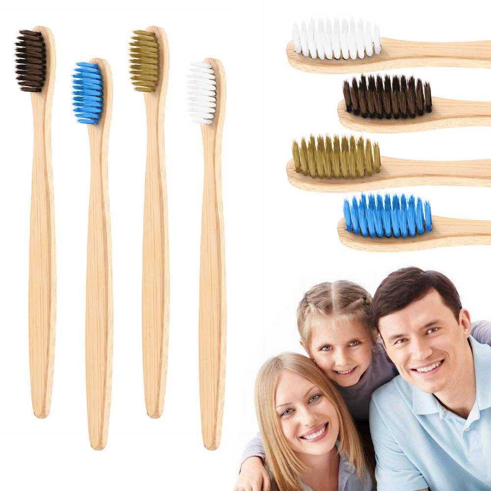 1PC naturalne szczoteczka bambusowa płaskie uchwyt bambusowy miękka szczoteczka do zębów z włosia szczoteczka do zębów dla dorosłych