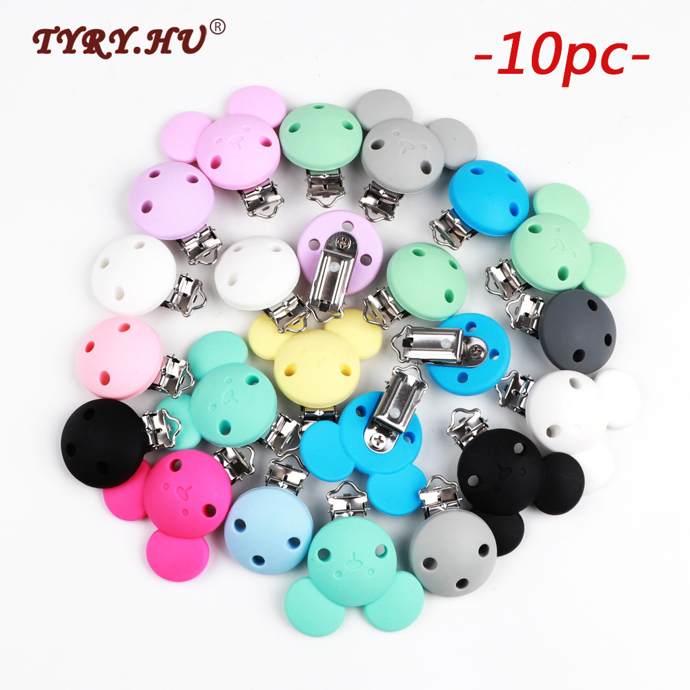 TYRY.HU 10pc Mickey Pacifier Dummy Teether Chain Holder Clips BPA Free Baby Nursing Safe Toys Accessories DIY Pacifier ClipsBeads   -