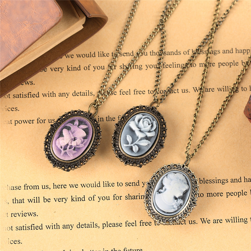 Pretty Flower Lady Necklace For Women Ladies Quartz Pocket Watch Girlfriends Girls Gifts Bronze Vintage Pendant Watches Chain