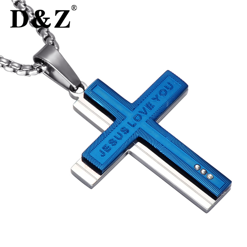 Dz religious cross necklaces silver chain stainless steel layered dz religious cross necklaces silver chain stainless steel layered jesus love you cross pendants necklaces for religious jewelry in pendant necklaces from aloadofball Image collections