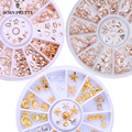 Rose Gold Rivet Nail Studs 3D Nail Art Decoration Gold Circle Star Round Square Mixed Accessories in Wheel for DIY