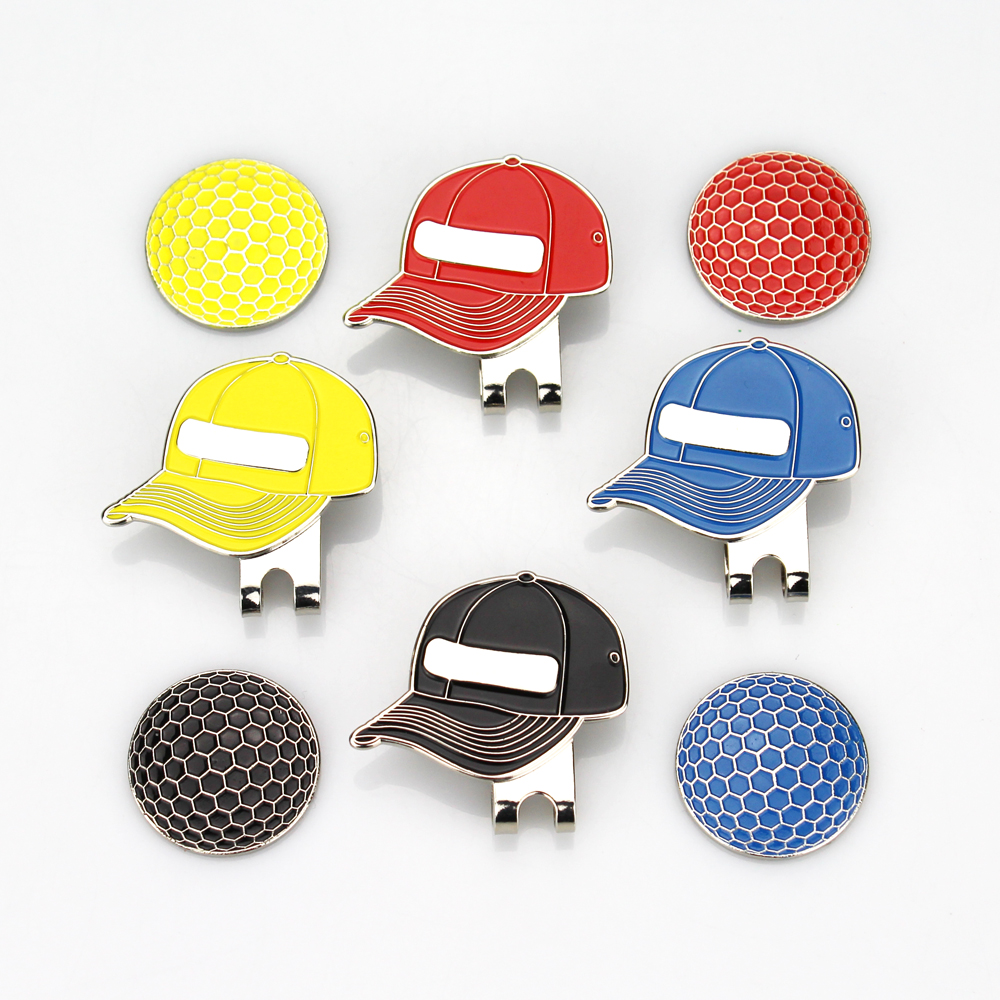 Free Shipping Golf Ball Markers With Magnetic Golf Hat Clips , Golf Visor Design, 4 Colors, 4 Pieces/lot, Wholesale Price.