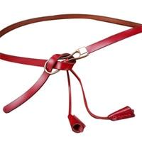 Belts For Women Candy Color Metal Buckle Thin Leather Belt Female Minimalist Straps Waistband Cummerbund For