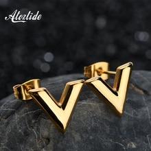 Atoztide Stainless Steel Alphabet V Shape Stud Earrings font b Gold b font Silver Color Trend