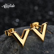 Atoztide Stainless Steel Alphabet V Shape Stud Earrings Gold Silver Color Trend Geometric Earring For Women Gift