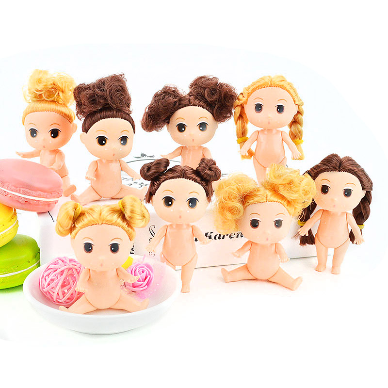 Hot Sale 3.5 9cm Mini Ddung Dolls With Brown Blonde Bun Hair Baking Mold Dolls Girl Toys image