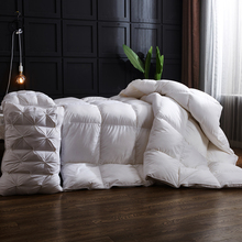 white stripe Goose Down comforter king queen full size Thick winter Quilted Stitching duvet Solid color