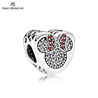 Grace Moments Authentic S925 Sterling Silver Disny Jewelry Mickey Minnie True Love CZ Charm Valentine S