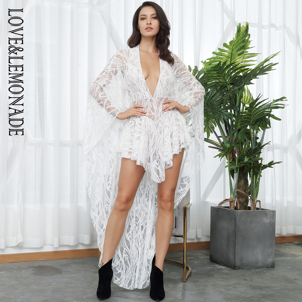 Love&Lemonade V-Neck  Ruffles Open Back Lace Playsuit LM81381-1WHITE