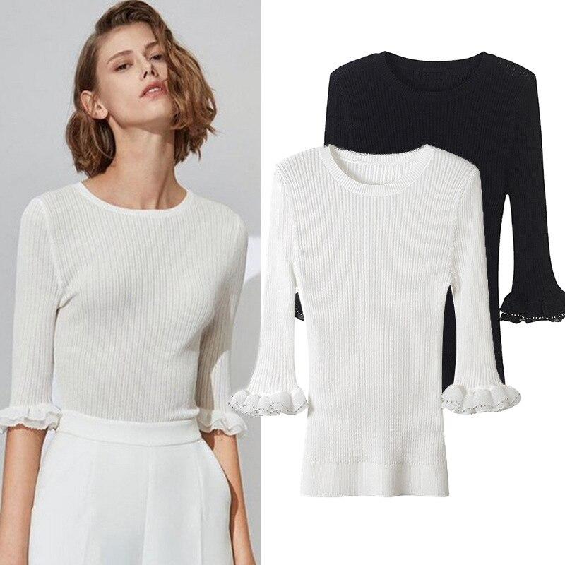noir Blanc Minute En Bois D'été Manches T Pull Nouveau Shirt Réparation Cinq Plaque Beige De Oreille Mode Tricot 2018 Tempérament xYPZw86Hq