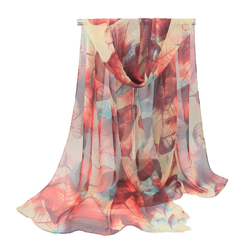 2018 Fashion Summer Chiffon Echarpe Shawl For Ladies Beach Towel New Maple Leaf Printed Voile Scarf Soft Scarves For Women