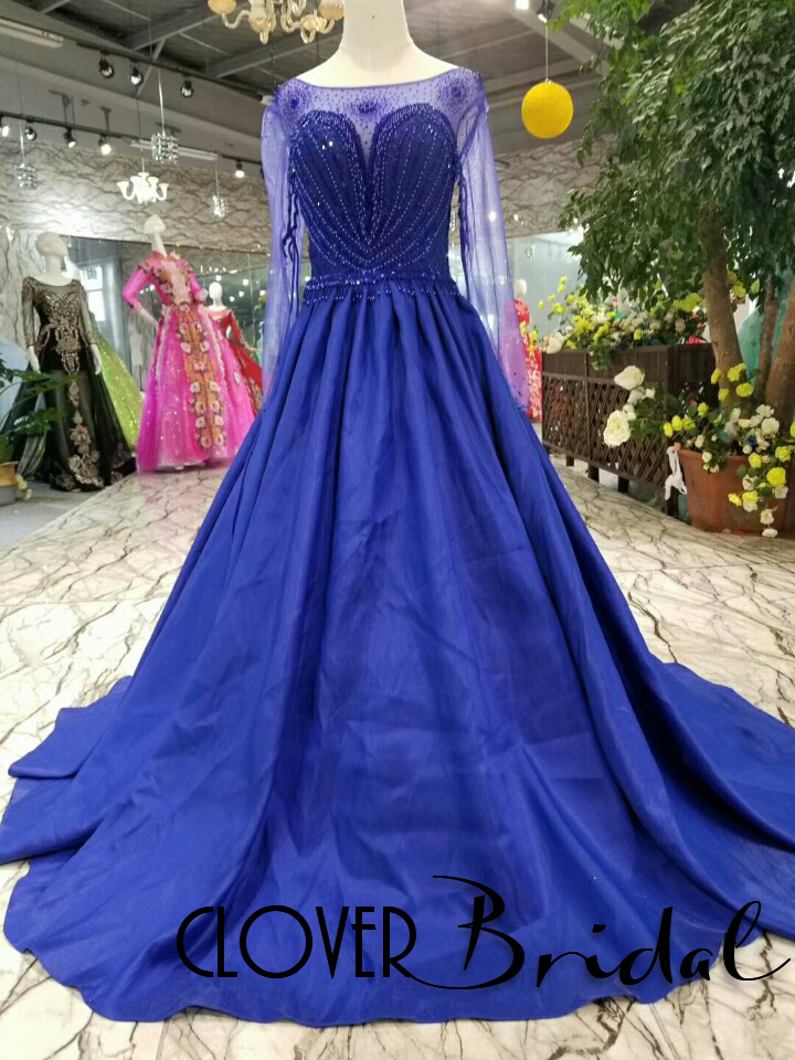 CloverBridal luxury pearls stones beaded satin long sleeves royal blue prom dresses sweep train hanging chain back