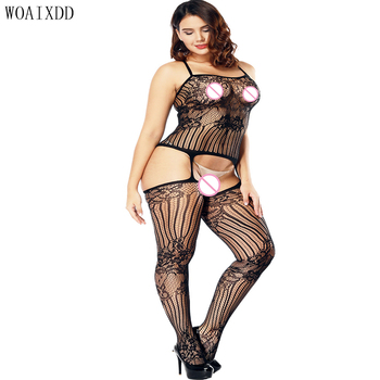 Sexy Lingerie Body Hot Erotic Fishnet Bodystocking Plus Size Costumes For Women Open Crotch Babydolls Erotic Underwear hot sexy lace neck fishnet body stocking sexy lingerie nets clothings sex costumes black mesh fishnet open crotch bodystocking